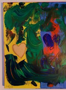 001, Zwei Herzen in meiner Brust Leinwand, Acryl     30 x 40